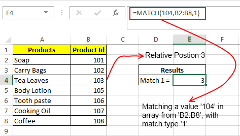 excel match function how to use