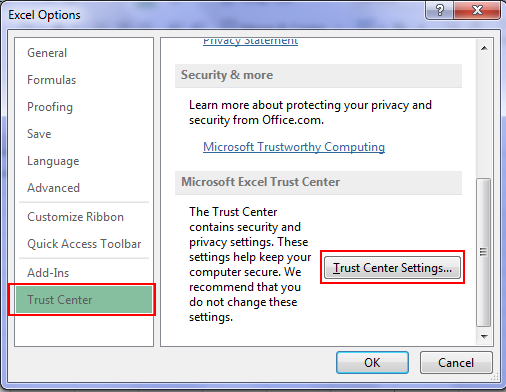 TrustCentre in Excel 2013