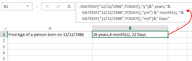 Excel DATEDIF Function – Calculate the difference between