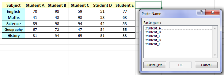 excel functions list
